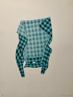 Untitled Still Life Hanging Plaid Shirt, Figurative Poetry Lithograph