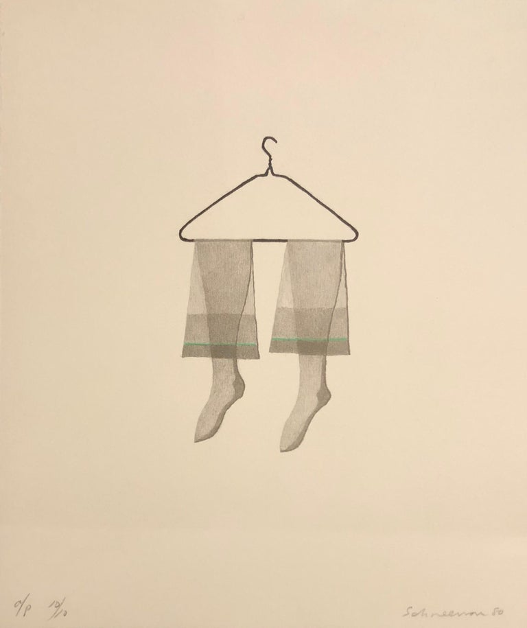 Untitled Still Life Hanging Tights in Green, Figurative Poetry Lithograph - Print by George Schneeman