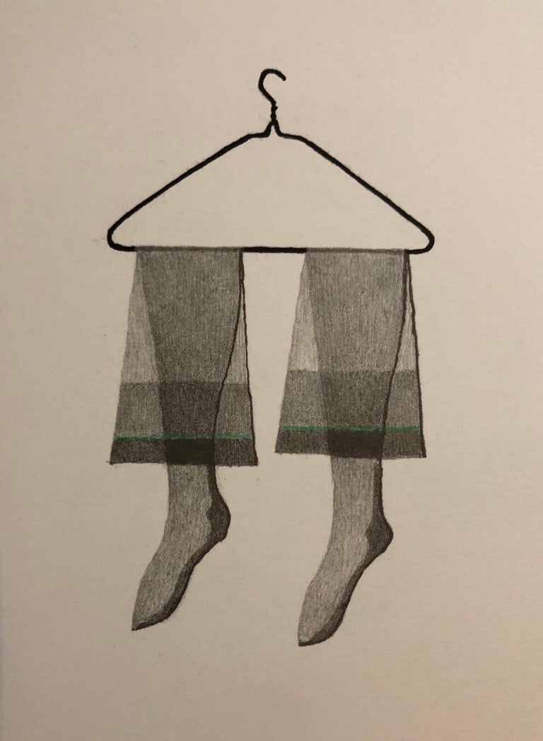 George Schneeman Still-Life Print - Untitled Still Life Hanging Tights in Green, Figurative Poetry Lithograph