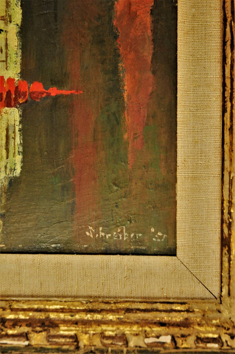 American George Schreiber, Untitled, Oil on Canvas Painting, 1950s For Sale