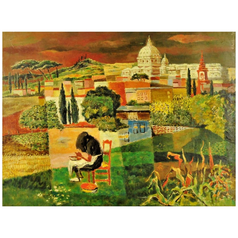 George Schreiber, Untitled, Oil on Canvas Painting, 1950s For Sale