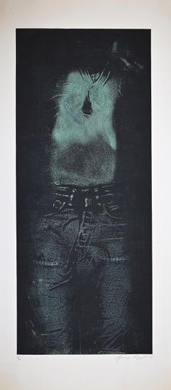 Man in Green Shirt - Original Etching by George Segal - 1976