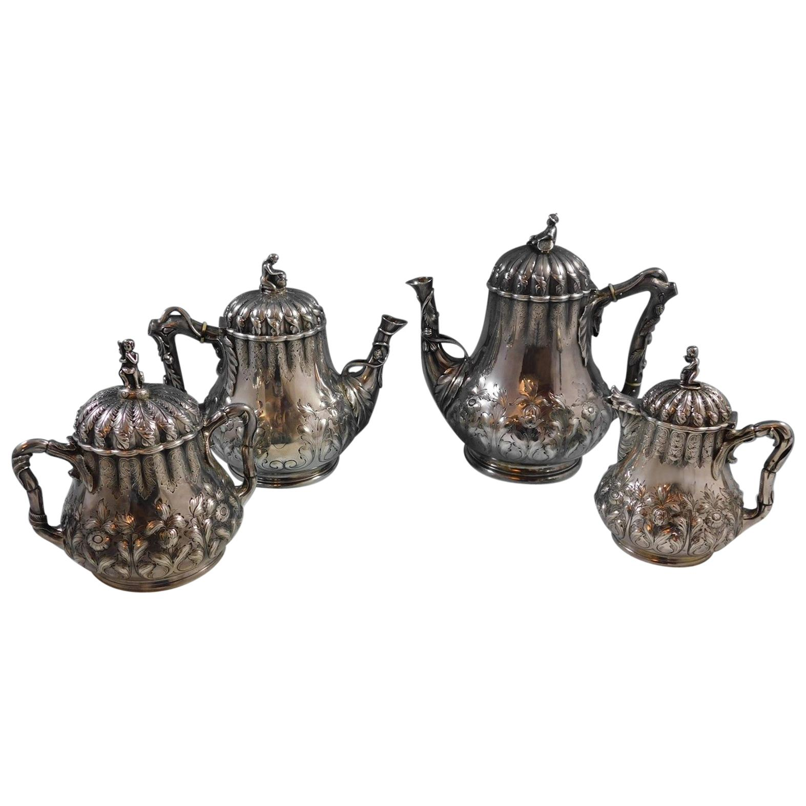 George Sharp Sterling Silver Tea Set 4 Pc with 3-D Cast Japanese Finials  #2264