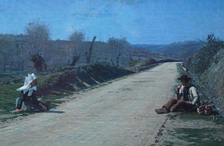 Breton Courtship -  British 19thC exhib art portrait landscape oil painting  For Sale 6