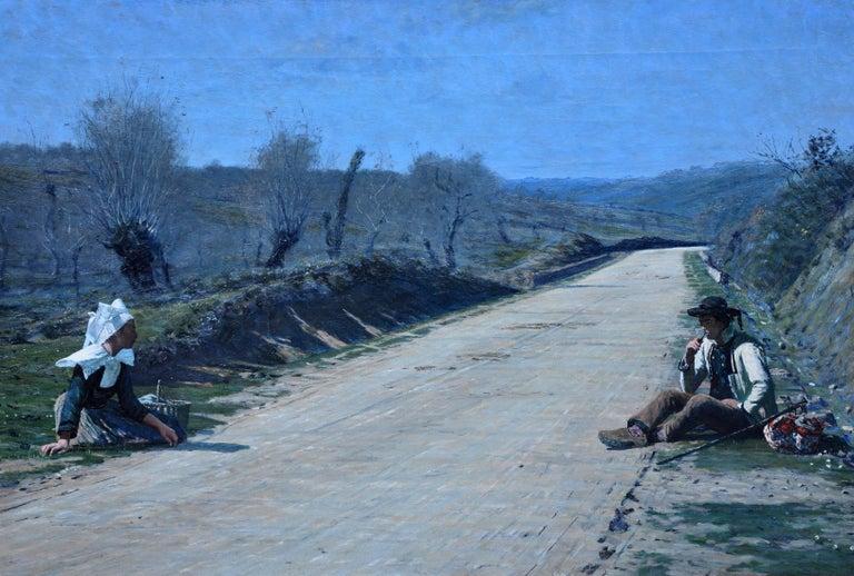 Breton Courtship -  British 19thC exhib art portrait landscape oil painting  - Painting by George Sherwood Hunter