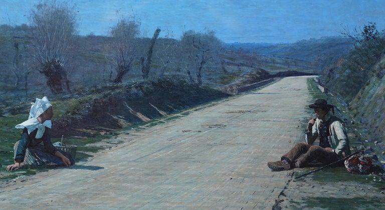 Breton Courtship -  British 19thC exhib art portrait landscape oil painting  - Gray Figurative Painting by George Sherwood Hunter