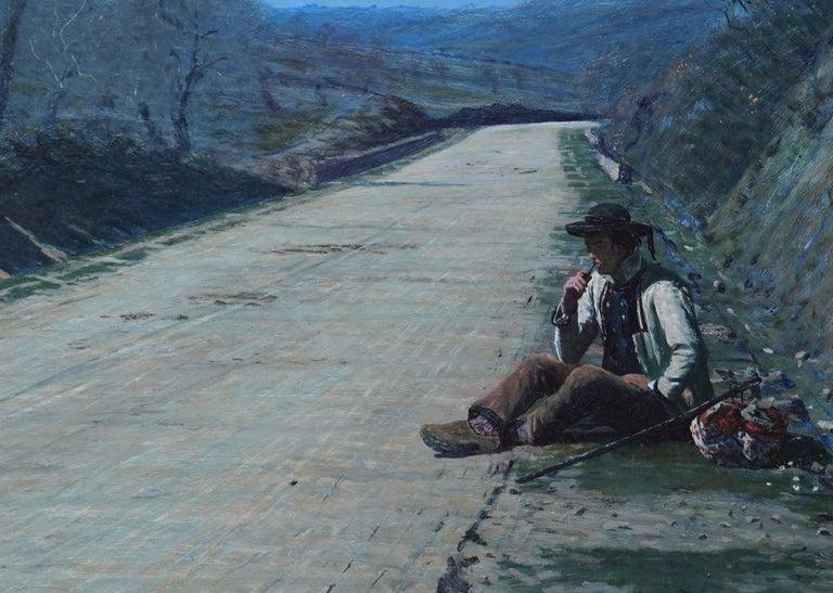 Breton Courtship -  British 19thC exhib art portrait landscape oil painting  For Sale 1