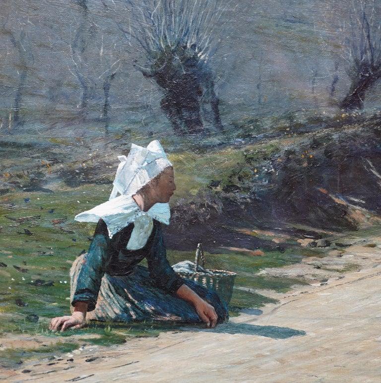 Breton Courtship -  British 19thC exhib art portrait landscape oil painting  For Sale 2