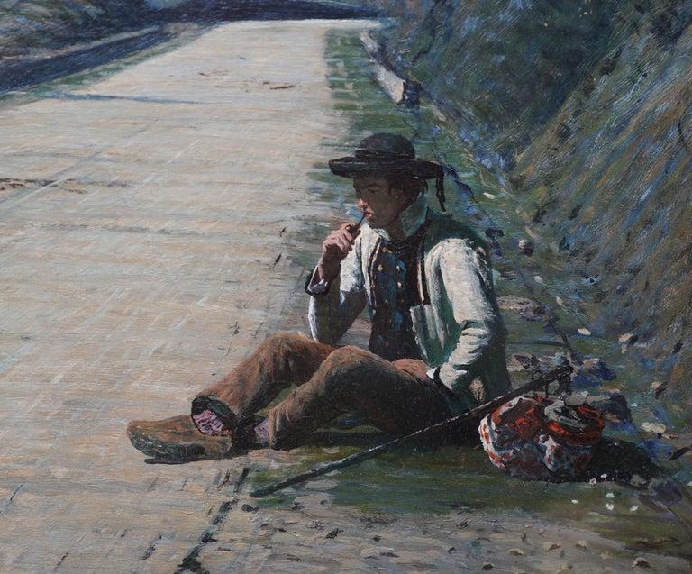 Breton Courtship -  British 19thC exhib art portrait landscape oil painting  For Sale 3