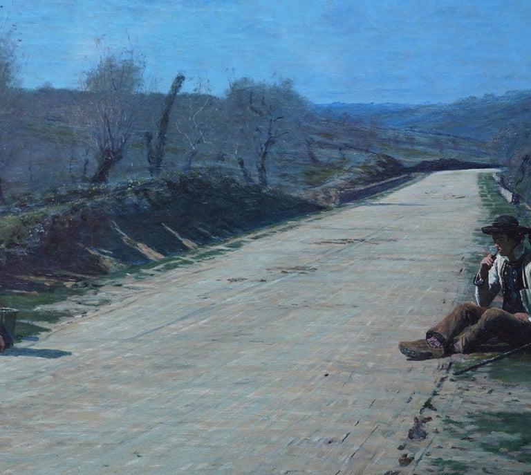 Breton Courtship -  British 19thC exhib art portrait landscape oil painting  For Sale 4