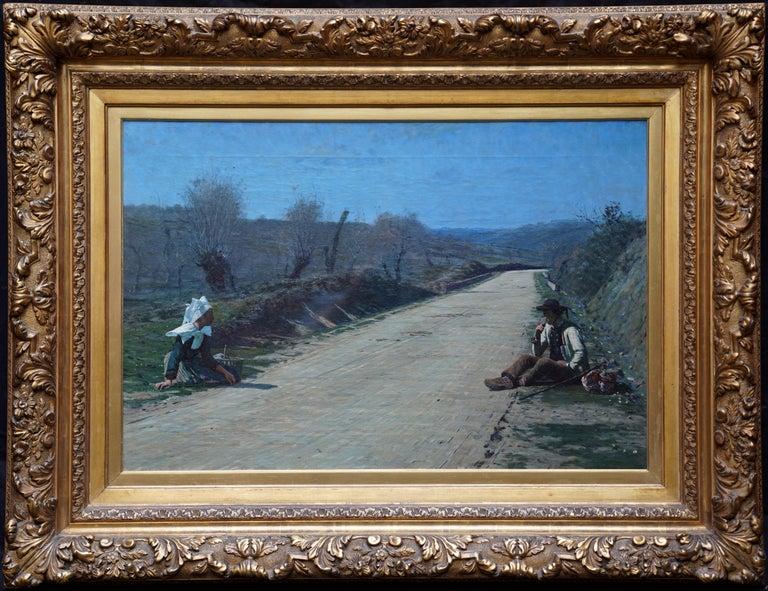 George Sherwood Hunter Figurative Painting - Breton Courtship -  British 19thC exhib art portrait landscape oil painting