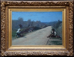 Breton Courtship -  British 19thC exhib art portrait landscape oil painting