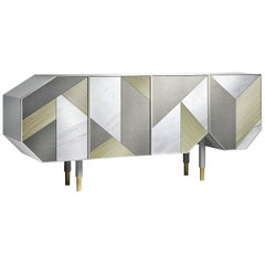 George Sideboard, Contemporary Buffet with Irregular Geometric Front