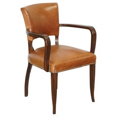 George Smith Brown Leather & Hardwood Desk Office Bridge Games Armchair or Chair