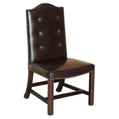 George Smith Buttoned Side Occasional Office Desk Chair Brown Leather