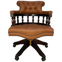 "George Smith ""Captain's"" Swivel Office Armchair in Brown Leather"