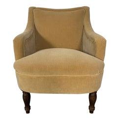 "George Smith ""Fairhill"" Armchair in Olive Gold Mohair-Velvet"