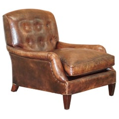 George Smith Lennagan Heritage Brown Leather Armchair Chesterfield
