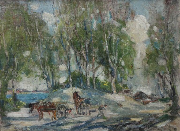 Working Horses in Scottish Landscape - Scottish 1920s art Impressionist painting For Sale 7