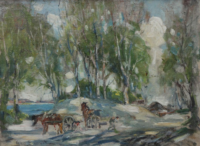 Working Horses in Scottish Landscape - Scottish 1920s art Impressionist painting - Painting by George Smith
