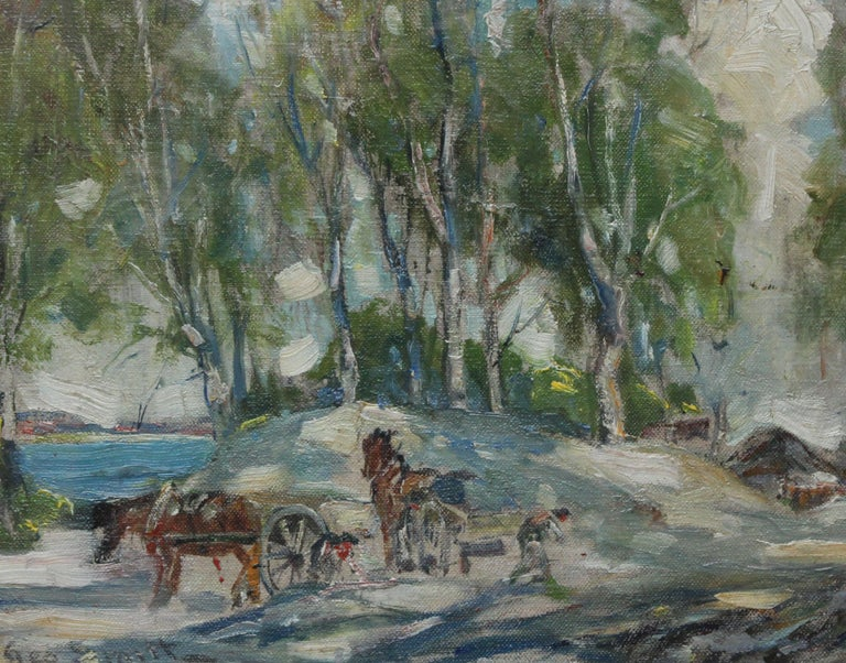 Working Horses in Scottish Landscape - Scottish 1920s art Impressionist painting - Brown Animal Painting by George Smith