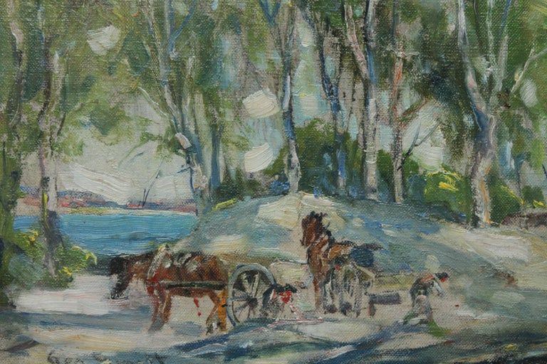 This lovely Impressionist Colourist oil painting is a fine example of the work of noted Scottish landscape and animal artist George Smith. He was particularly known for his paintings of working horses of which ours has two such horses in the