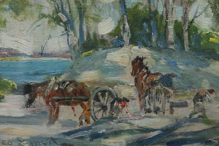 Working Horses in Scottish Landscape - Scottish 1920s art Impressionist painting For Sale 2