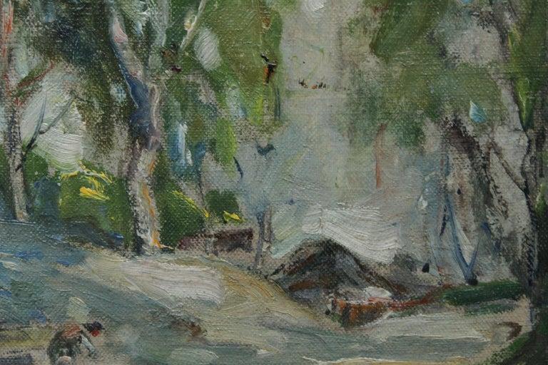 Working Horses in Scottish Landscape - Scottish 1920s art Impressionist painting For Sale 3