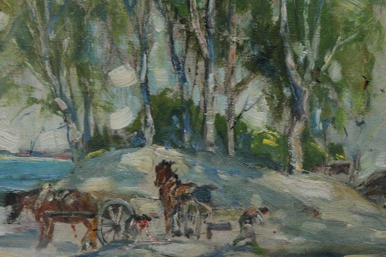 Working Horses in Scottish Landscape - Scottish 1920s art Impressionist painting For Sale 4
