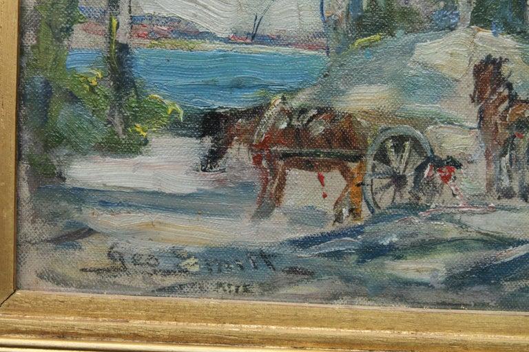 Working Horses in Scottish Landscape - Scottish 1920s art Impressionist painting For Sale 5