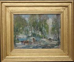 Working Horses in Scottish Landscape - Scottish 1920s art Impressionist painting