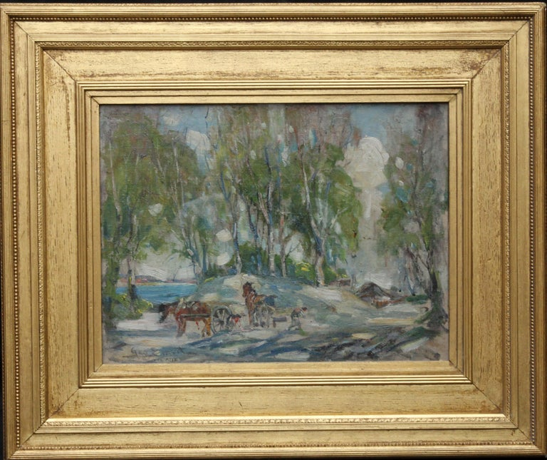 George Smith Animal Painting - Working Horses in Scottish Landscape - Scottish 1920s art Impressionist painting