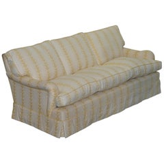 George Smith Scroll Arm Three-Seat Sofa Feather Filled Cushions