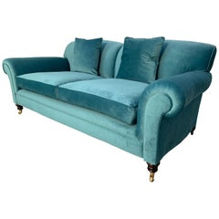 "George Smith Signature ""Elverdon-Arm"" Large 2.5-Seat Sofa in Turquoise Velvet"