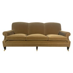 "George Smith ""Signature"" Scroll-Arm Large Sofa in Beige Gold Mohair Velvet"
