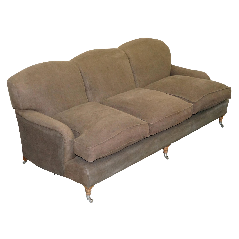 George Smith Signature Scroll Howard Arm Three-Seat Sofa Grey