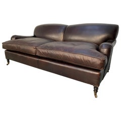 "George Smith Signature ""Standard-Arm"" Large 2.5-Seat Sofa in Cocoa Leather"