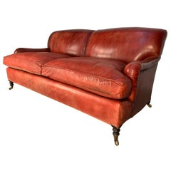 "George Smith Signature ""Standard-Arm"" Large Sofa in Oxblood Leather"