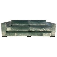 """George Smith """"Square-Arm"""" Large 4-Seat Sofa in Pale-Green Silk-Velvet"""