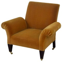 George Smith Whiskey Mohair Custom Butterfly Armchair, Accent Lounge Chair