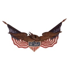 George Staph Carved Eagle with Commercial Advertising, Ca 1890-1918