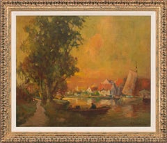 Untitled Riverscape Impressionist Oil Painting by George Thompson Pritchard