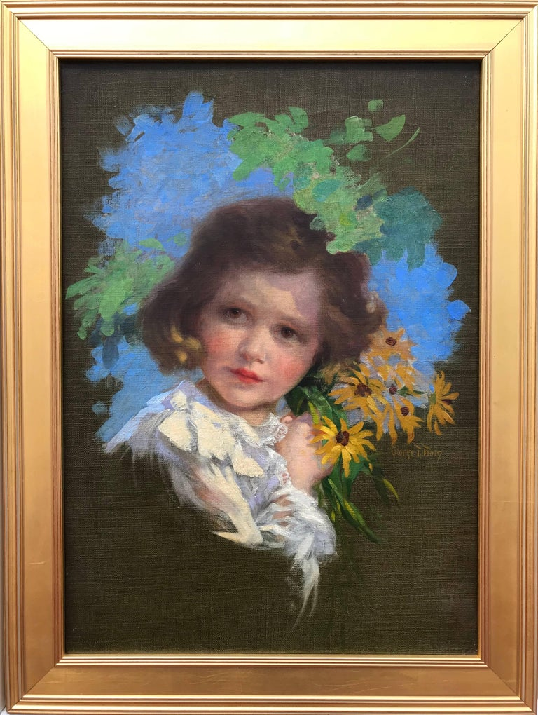 """Girl with Black-eyed Susans"" - Academic Painting by George Timothy Tobin"