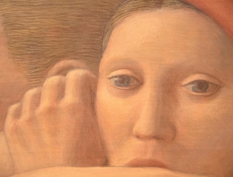 """A painting by George Tooker. """"Moon """"Rise is a Post-War figurative painting, egg tempera on gesso panel in a palette of oranges, browns, blues, and greens by artist George Tooker. The artwork is signed in the lower right,"""
