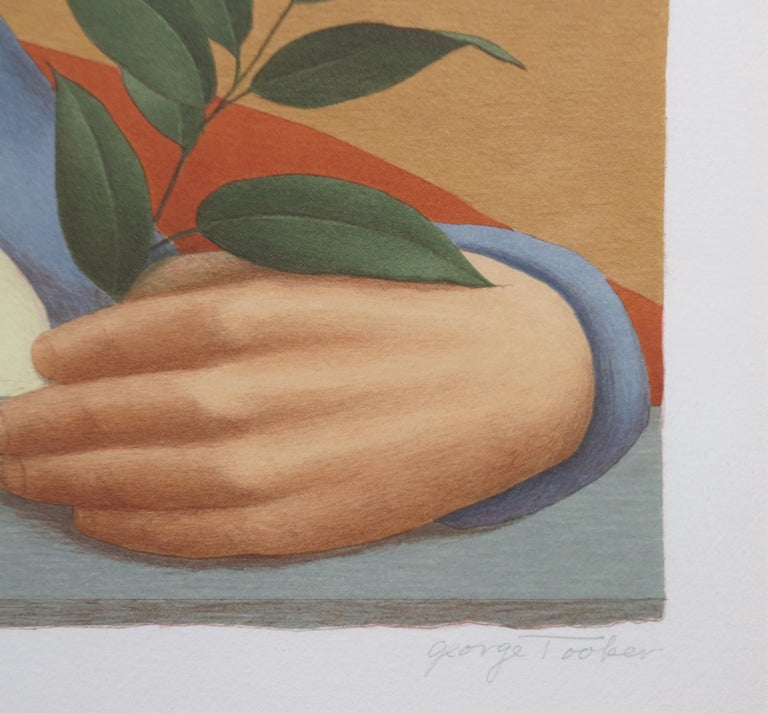 George Tooker   American 1920 -  2011   Woman With A Sprig Of Laurel   1992   Color lithograph   Signed George Tooker lower right   AP lower left    29 from edition of 125   17 3/4