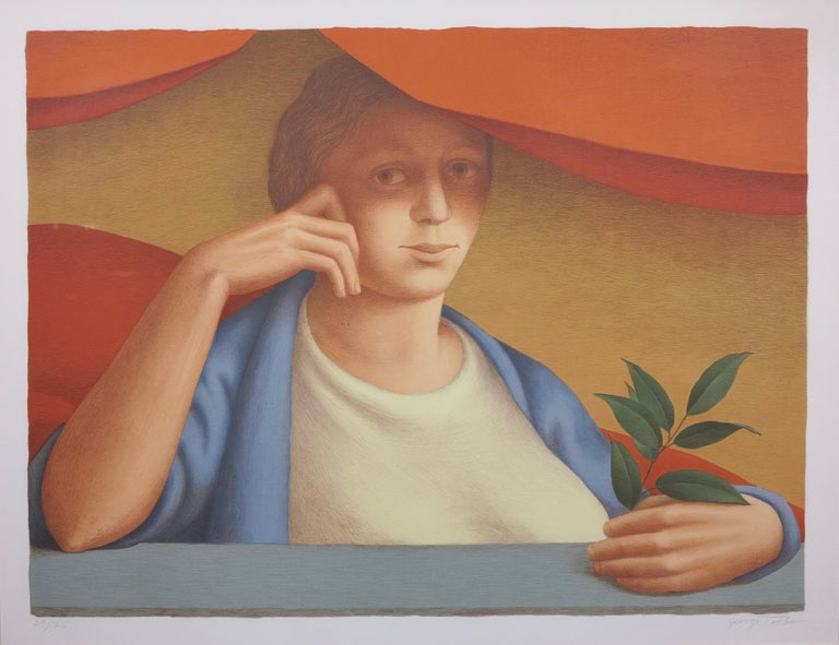 George Tooker Figurative Print - Woman With A Sprig Of Laurel