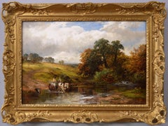 19th Century Landscape oil painting of a horse & cart crossing a ford