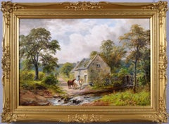 19th Century landscape oil painting of a mill in Derbyshire