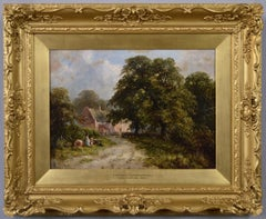 19th Century landscape oil painting of figures near a Derbyshire cottage