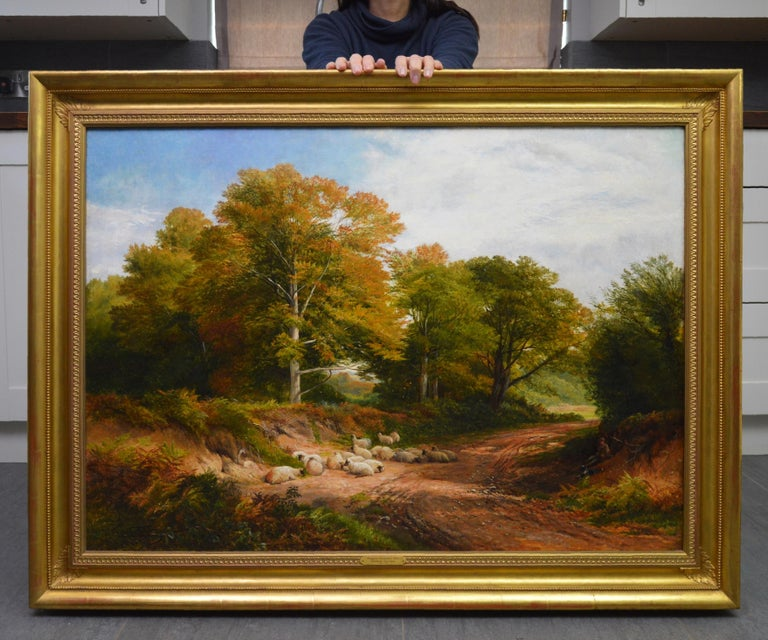 Froggatt, Derbyshire - Large 19th Century Victorian Landscape Oil Painting - Brown Landscape Painting by George Turner